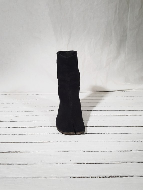 vintage Maison Martin Margiela dark grey linen tabi boots with block heel 150843