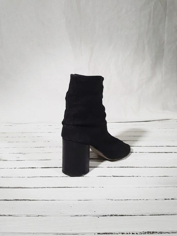 vintage Maison Martin Margiela dark grey linen tabi boots with block heel 150932
