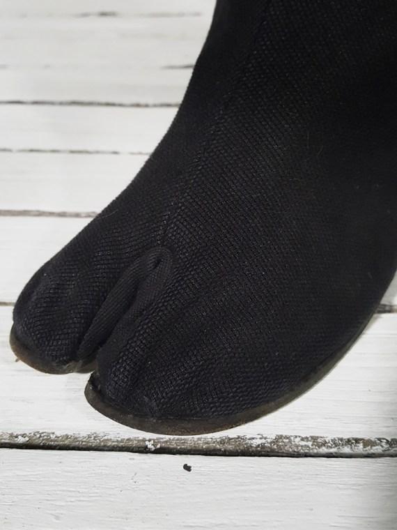vintage Maison Martin Margiela dark grey linen tabi boots with block heel 151132