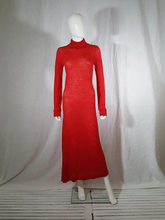 Ann Demeulemeester red knit maxi dress fall 1996 151618
