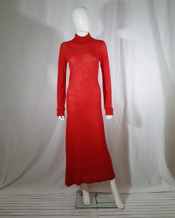 Ann Demeulemeester red knit maxi dress — fall 1996