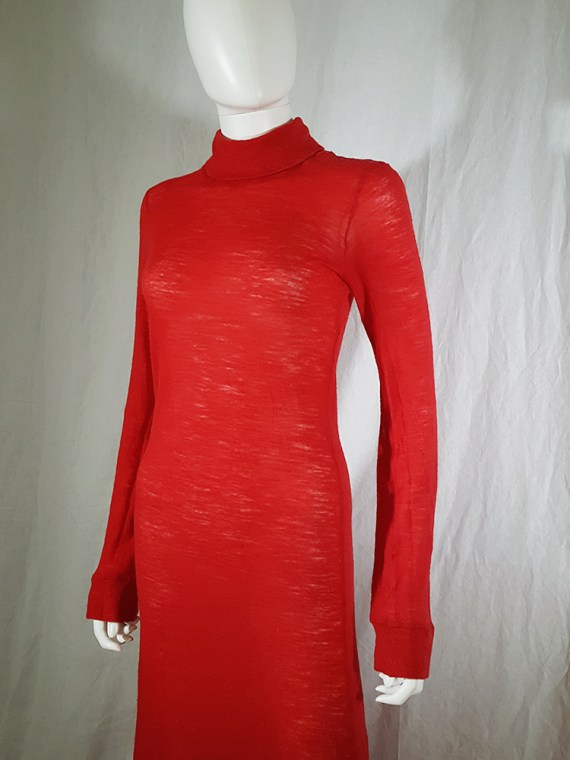 Ann Demeulemeester red knit maxi dress fall 1996 151707(0)
