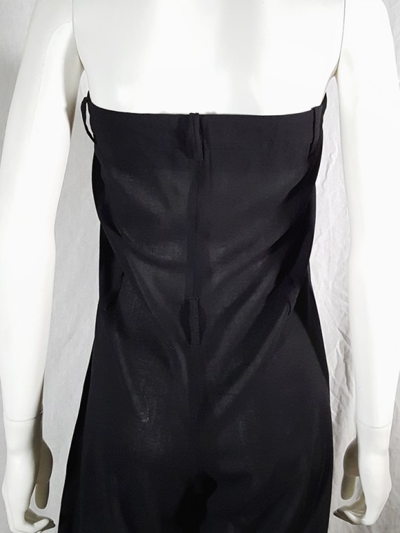 vintage 1990s Ann Demeulemeester black strapless jumpsuit 165705