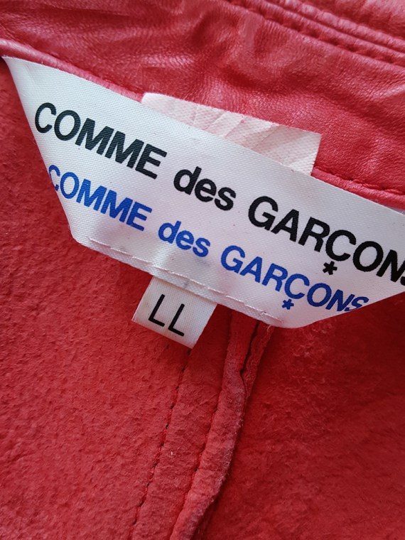 vintage Comme des Garcons comme red wrinkled leather jacket 161834
