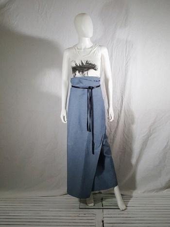 Lieve Van Gorp blue wrapped jeans skirt