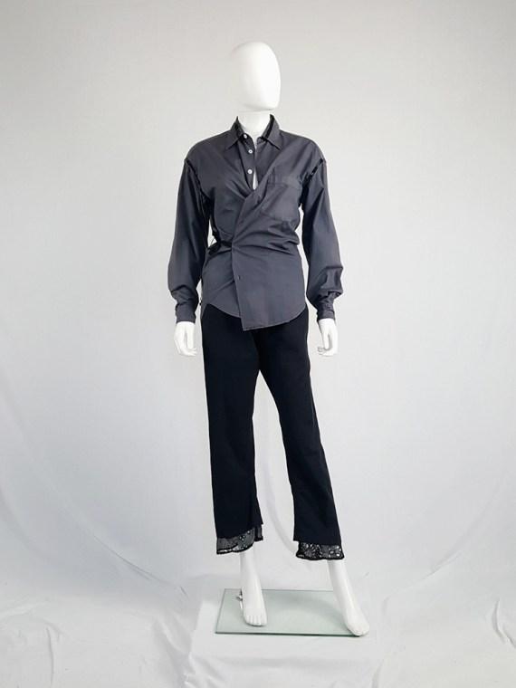 Maison Martin Margiela artisanal grey sequinned wrap shirt