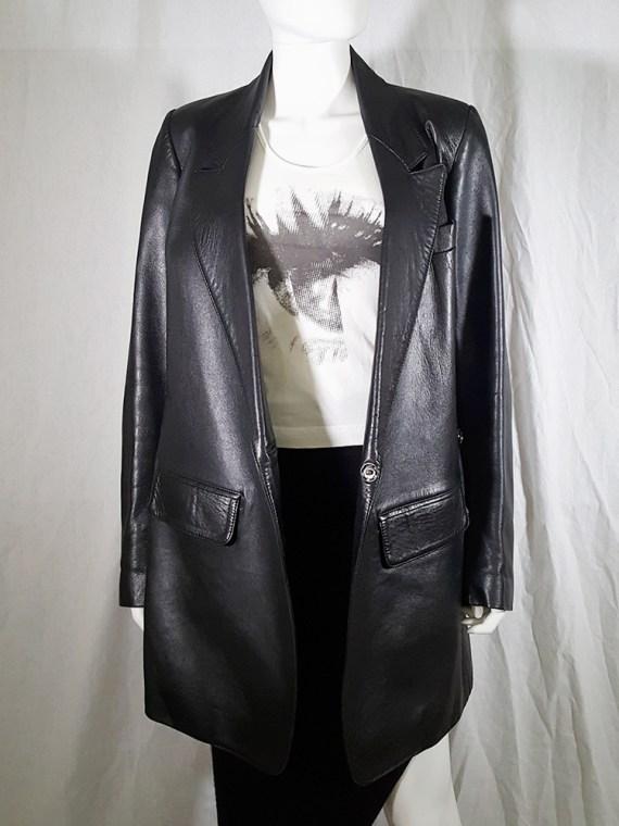 vintage Ann Demeulemeester black leather asymmetric coat fall 1998 133315