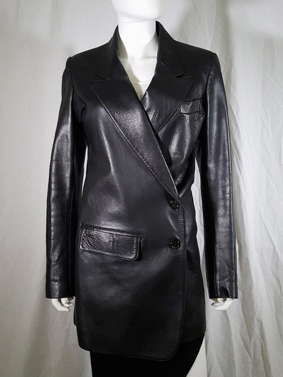 vintage Ann Demeulemeester black leather asymmetric coat fall 1998 133434