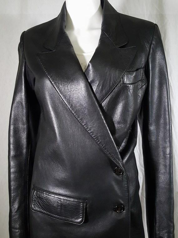 vintage Ann Demeulemeester black leather asymmetric coat fall 1998 133509