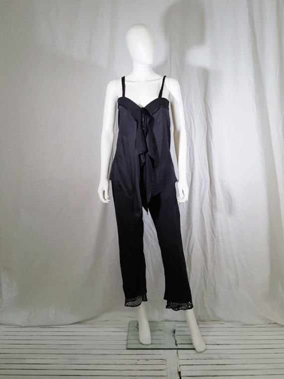 vintage Ann Demeulemeester black tie-front draped top spring 2002 143011