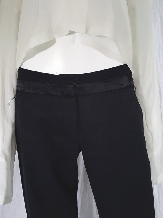 vintage Ann Demeulemeester black trousers with torn waist 142742
