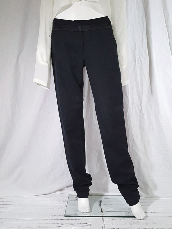 vintage Ann Demeulemeester black trousers with torn waist 142754