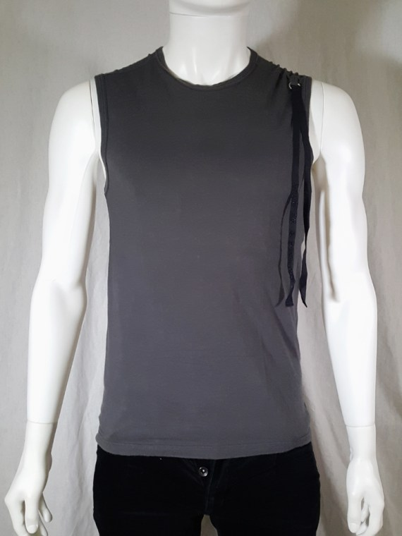 vintage Ann Demeulemeester grey sleeveless t-shirt with beaded quote spring 2000 141142
