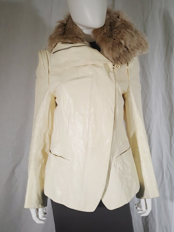 vintage Ann Demeulemeester white asymmetric leather jacket with furry trim 135445