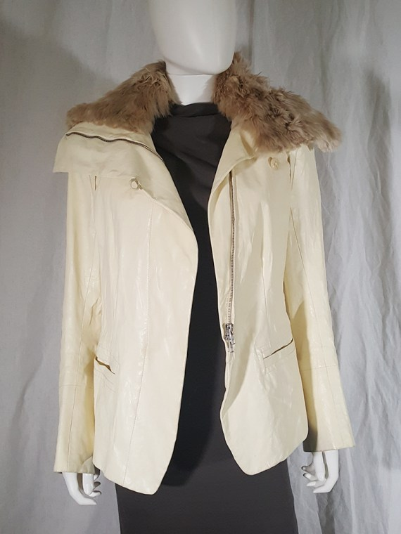 vintage Ann Demeulemeester white asymmetric leather jacket with furry trim 135536