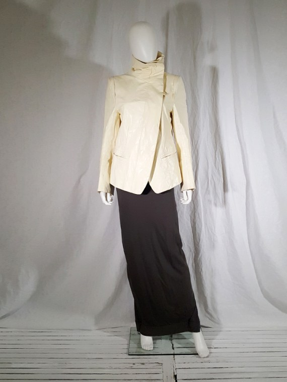 vintage Ann Demeulemeester white asymmetric leather jacket with furry trim 135856(0)