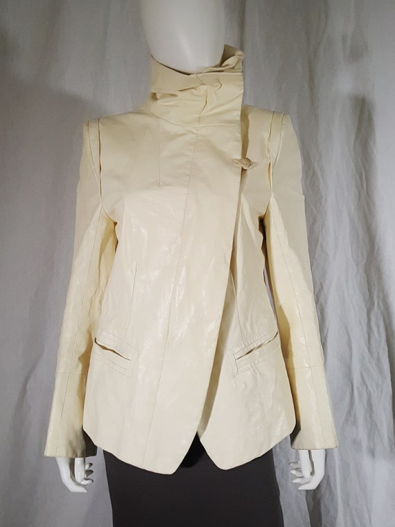 vintage Ann Demeulemeester white asymmetric leather jacket with furry trim 135908(0)