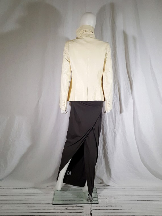 vintage Ann Demeulemeester white asymmetric leather jacket with furry trim 140030