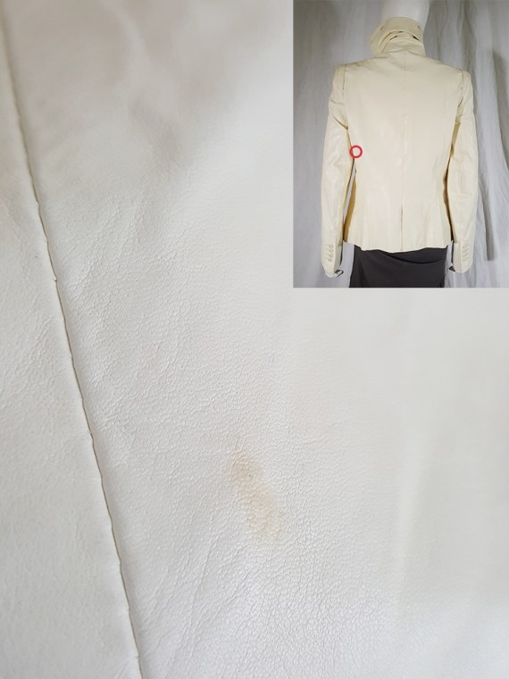 vintage Ann Demeulemeester white asymmetric leather jacket with furry trim 2