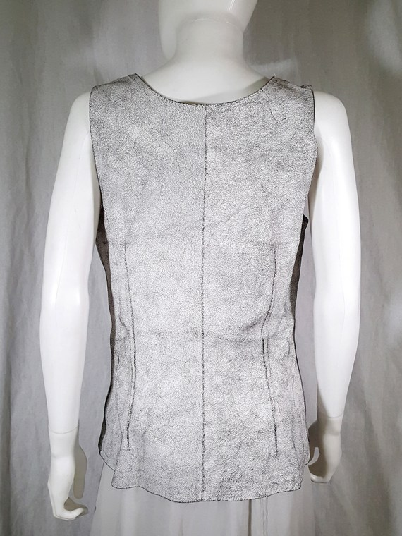 vintage Ann Demeulemeester white cracked leather top — spring 2002