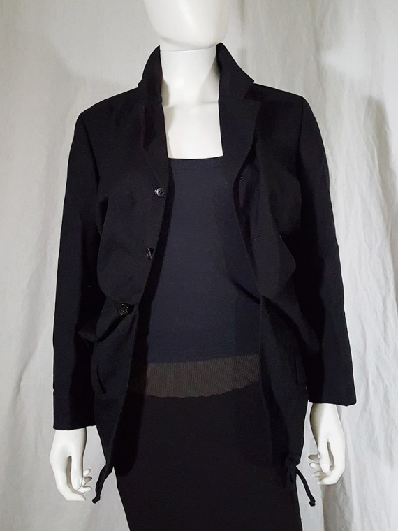 vintage Comme des Garcons black blazer with gathered waist fall 1990 144134