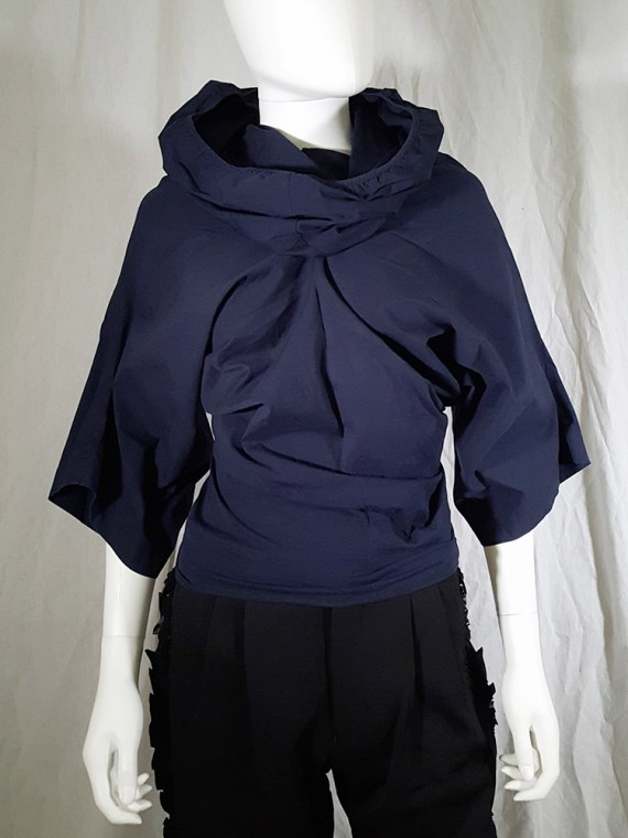 Comme des Garçons blue twisted top with cowl neck — fall 1995