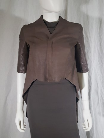 Rick Owens ANTHEM brown leather geometrical jacket — spring 2011