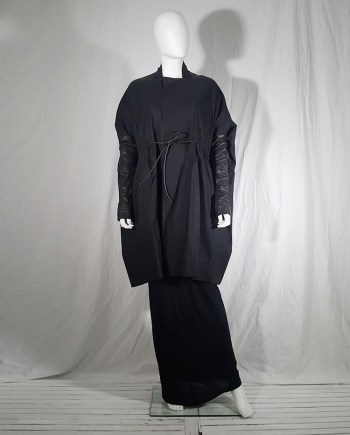 Rick Owens NASKA black gathered coat with leather sleeves runway spring 2012