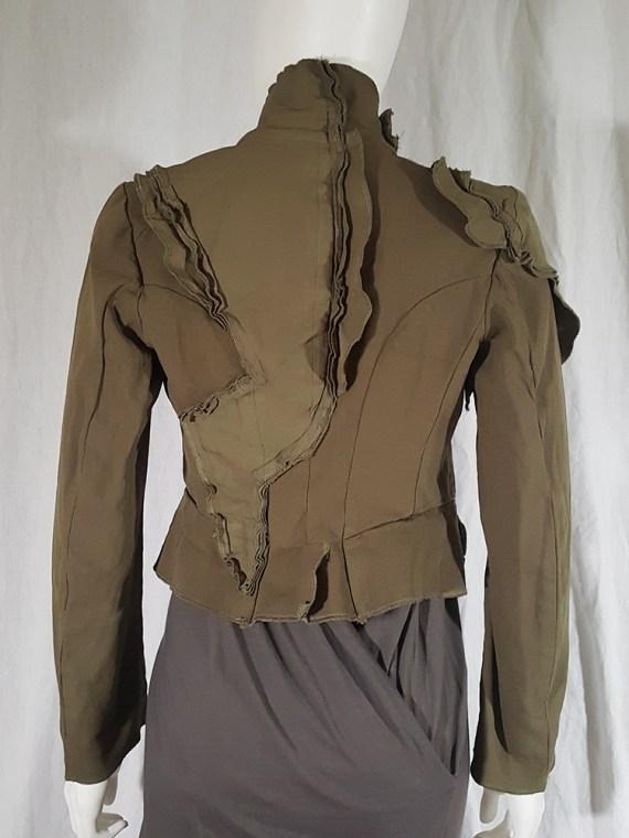 Comme des Garçons khaki green deconstructed blazer — spring 2010