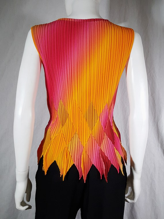 vintage Issey Miyake Fete orange and pink harlequin top 164201