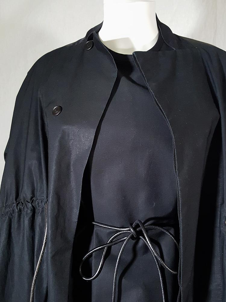 Rick Owens NASKA black gathered coat with leather sleeves — spring 2012