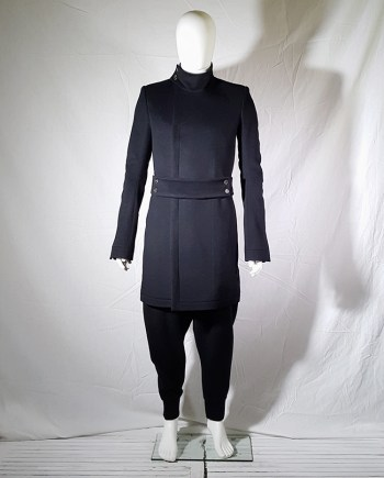 Project 9 dark blue minimalist long coat with standing collar