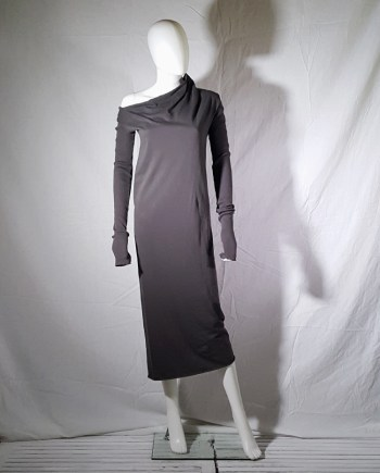 vintage Rick Owens DRKSHDW brown asymmetric longsleeved dress