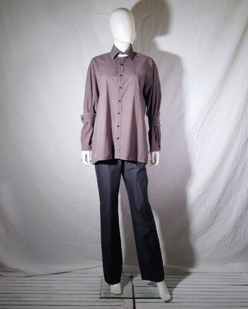 Maison Martin Margiela artisanal purple shirt with detached collar and cuffs