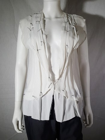 Maison Martin Margiela white pinstripe blouse with gathered lapels — spring 2004