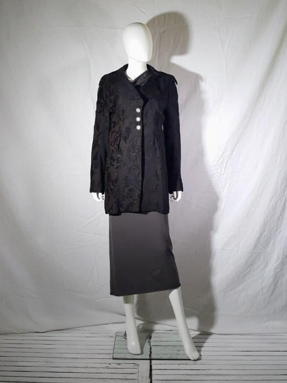 vintage Ann Demeulemeester brown brocade coat fall 1994 155955