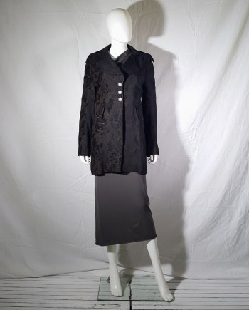 Ann Demeulemeester brown brocade coat — fall 1994