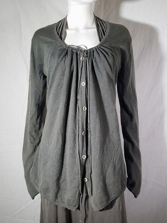 vintage Ann Demeulemeester grey cardigan with back straps 174924
