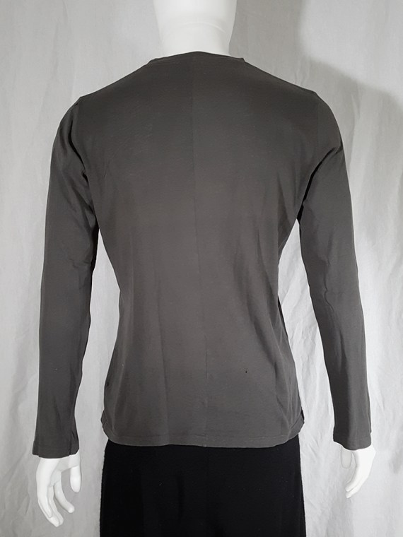 vintage Ann Demeulemeester grey-green longsleeve with front button detail 151957