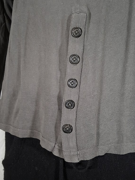 vintage Ann Demeulemeester grey-green longsleeve with front button detail 152036