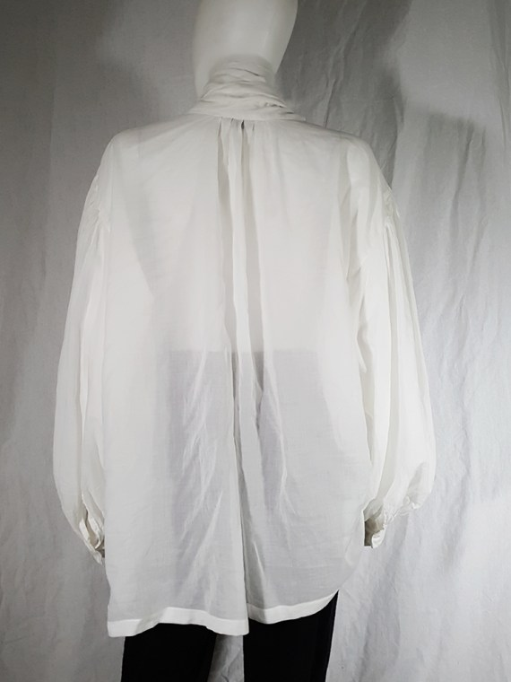 vintage Dries Van Noten white poet blouse with long scarf collar 162617