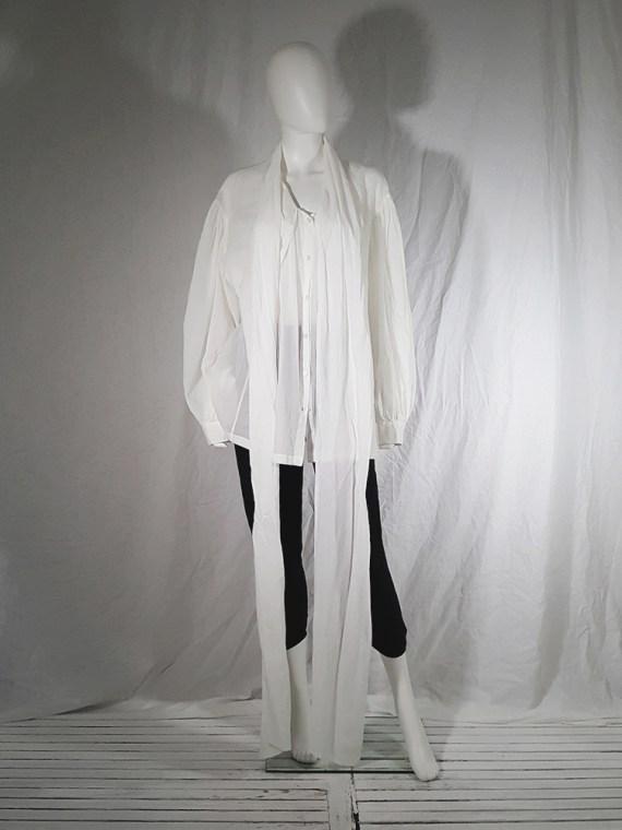 vintage Dries Van Noten white poet blouse with long scarf collar 162705(0)