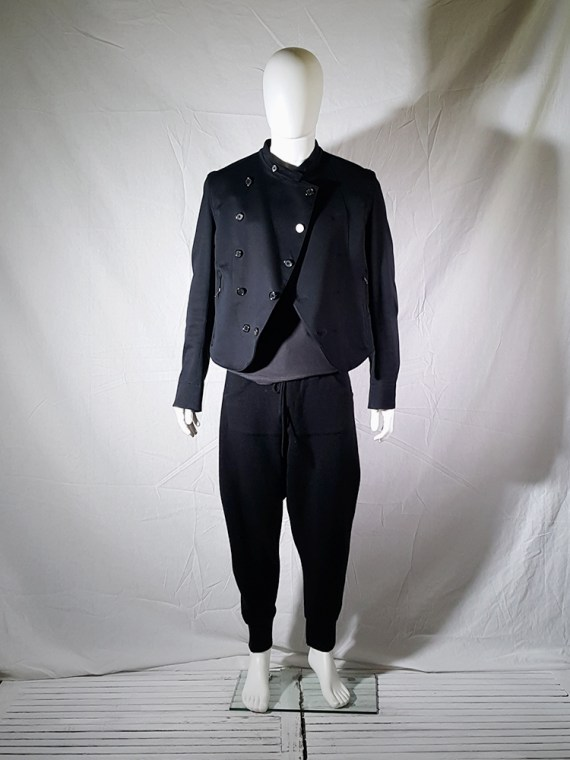 vintage mens Ann Demeulemeester black double breasted military jacket 145451