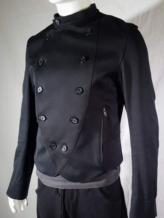vintage mens Ann Demeulemeester black double breasted military jacket 145754