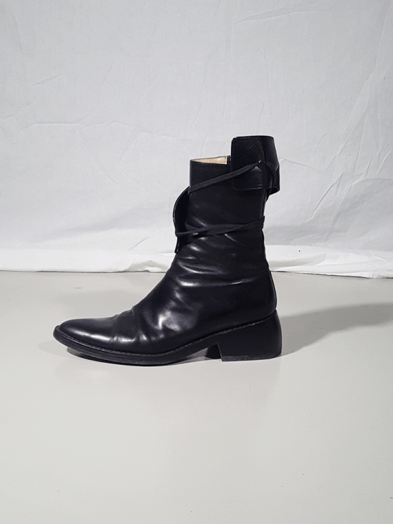 Ann Demeulemeester black pirate boots with curved heel 3127