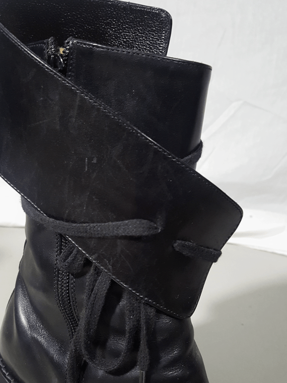 Ann Demeulemeester black pirate boots with curved heel 3442