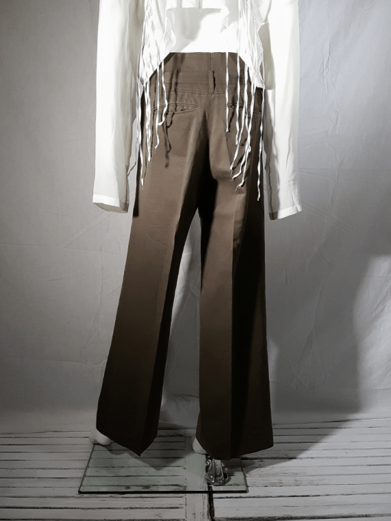 vintage Ann Demeulemeester green paper trousers with belt strap 173109