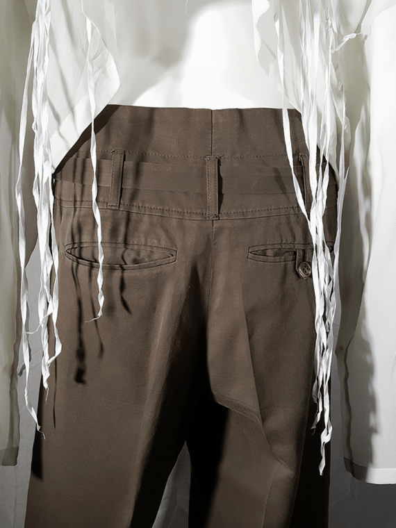 vintage Ann Demeulemeester green paper trousers with belt strap 173124