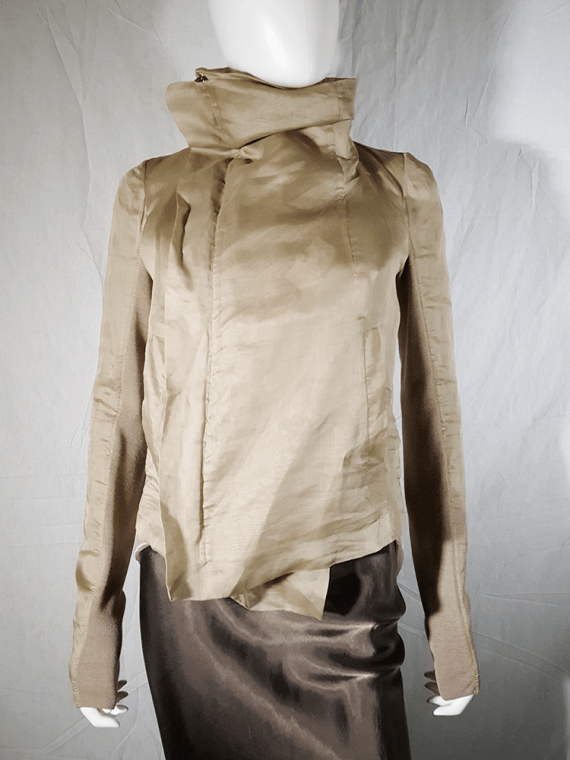 Rick Owens beige classic biker jacket with paneled sleeve detail