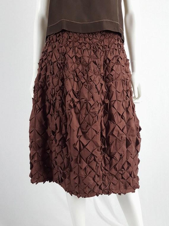 vintage Issey Miyake brown skirt with origami flowers